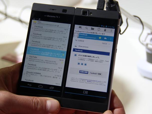 มือถือ Docomo N-05E Medias W ใช้งานจออย่างอิสระ