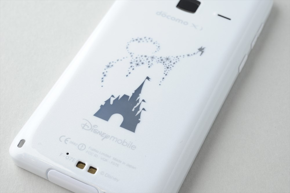 มือถือญี่ปุ่น Docomo Fujitsu F-07E Disney แอนดรอยด์ กันน้ำ ด้านหลัง